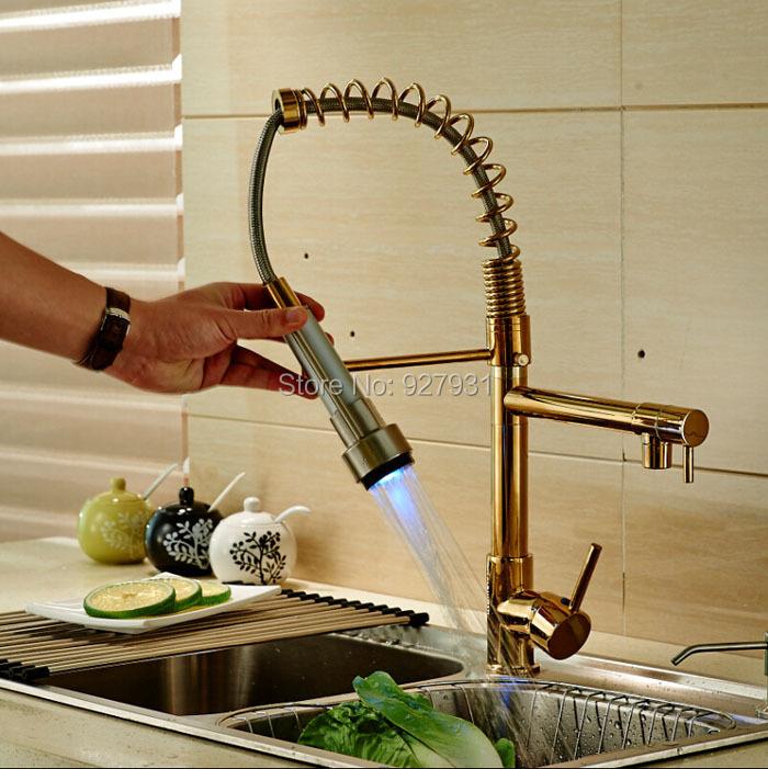 Фотография Color Changing LED Light Kitchen Faucet Double Spout Brass Golden Kitchen Mixer Faucet Tap Single Handle