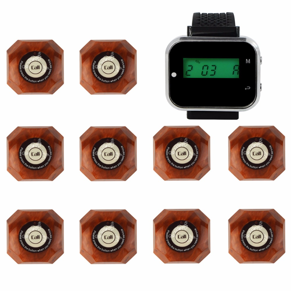 3 color 433.92MHz Wireless Restaurant Pager Calling System Watch Wrist Receiver+10pcs Call Button Pager Catering Equipment F3293(China (Mainland))