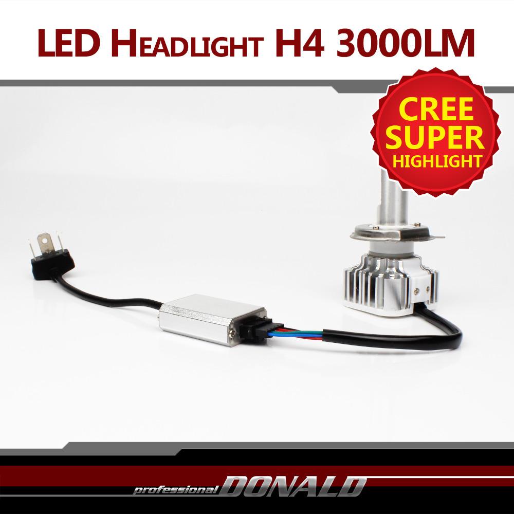 1x Plug Play CREE LED H4 H4 3 HB2 9003 30W 3000LM WHITE BULB Car Motorcycle