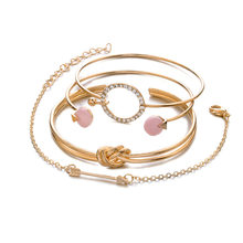 4 Pcs/ Set Classic Arrow Knot Round Crystal Gem Multilayer Adjustable Open Bracelet Set Women Fashion Party Jewelry Gift(China)