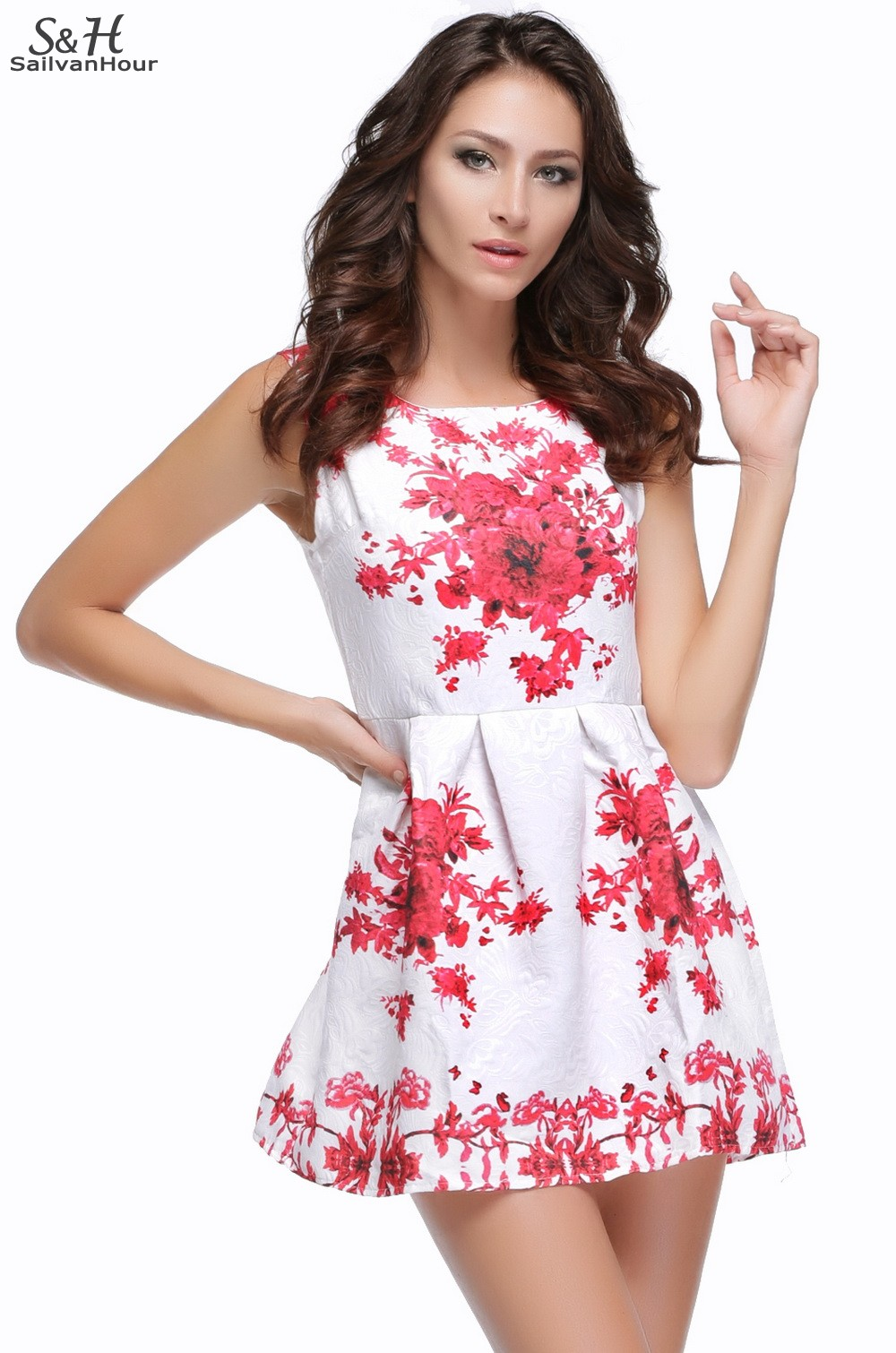 Wonderful 2015 New Fashion Spring And Summer Colorful Flower Print Dress Women