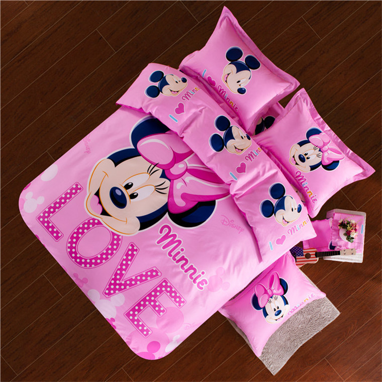 100 cotton Girls pink comforter cover sets oil printing King queen size minnie mouse Kids bedding set flat sheet pillowcases(China (Mainland))