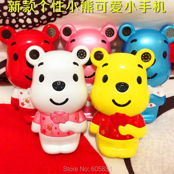 2015 New Unlocked Fashion hello kitty Cartoon Mobile phone for kid children Dual sim MIni bear Russian cell phone Free Shipping(China (Mainland))