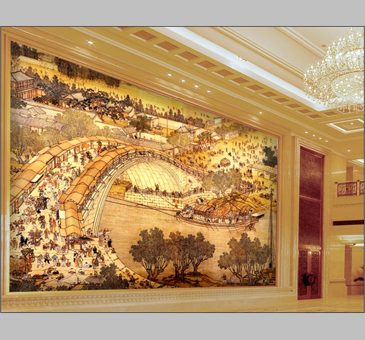 Murals luxury gold embossed wallpaper abstrat 3d for hotel for Gold wallpaper living room