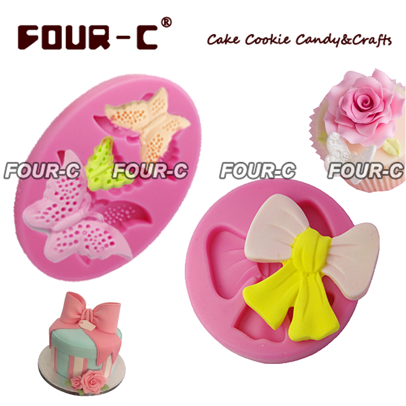 Butterfly bowknot 2pcs 3D fondant silicone mold,cake decorating silicone mold,cupcake dessert decorating 3d mold,free shipping(China (Mainland))