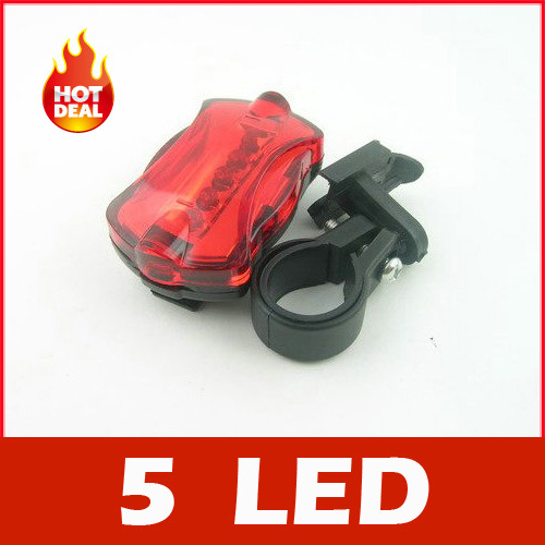 2PC/Lot Bicycle light led 5 LED 6 Mode Tail Rear Safety Warning Flashing Bike Flashlight Light Lamp[Z10000201] - Anne's lou store