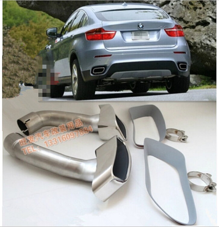 car silencer stainless steel exhaust pipe muffler burn tips for bmw x6 e71 2008 2014 on. Black Bedroom Furniture Sets. Home Design Ideas