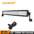 Auxmart CREE Chips 5D 22 200W Curved LED Light Bar Offroad Light Bar Combo Beam for
