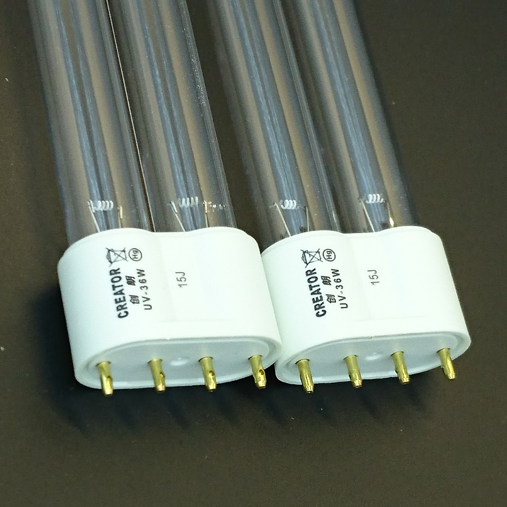2pcs of 36W 4-pin 2G11 Base Linear Twin Tube UV Germicidal Bulb Replacement for UVC Sterilizers(China (Mainland))