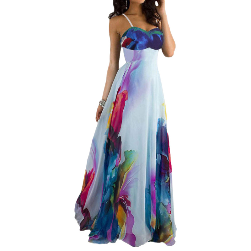 2016 New Fashion Chic Strapless Sleeveless Floral Print Women's Maxi Dress Free delivery(China (Mainland))
