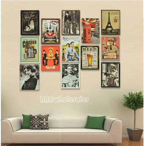 Buy 11 8 cm 1vintage home decor metal painting crafts bar for Decor mural metal