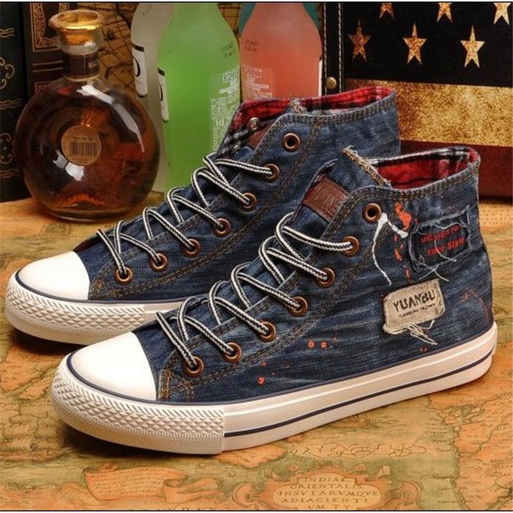 vintage high canvas shoes denim shoes all match