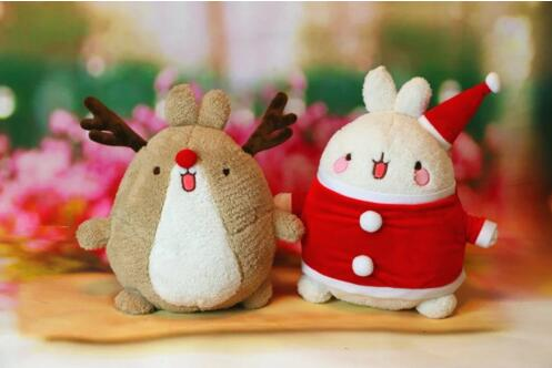 Molong Lovely Plush Toy Doll 33CM Christmas Deer Rabbit Good PPT Gift Free Shipping HJ-TDT(China (Mainland))