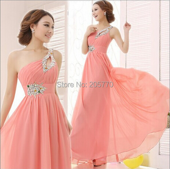 Floor-length Chiffon Long Evening Dress Gown 2015 Long Pink Design Formal evening dresses gown wedding party dress Fast Shipping