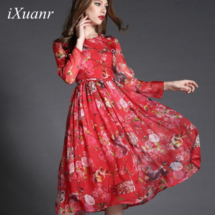 spring dress vestido casual elegant owl printing silk large big swing long yellow purple red womens - Shenzhen IXUANR CO.,LTD store