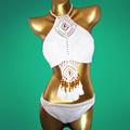 2016 New Brazilian National Style Crochet Bikini Bandeau Handmade Halter Hollow Out Micro Bikini Shorts Swimming
