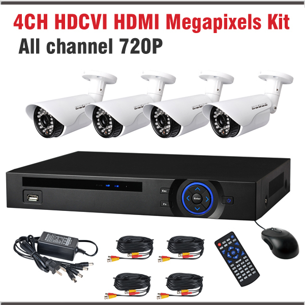720P Megapixel HD Outdoor IR Cameras hdcvi HDMI DVR 4 Channel HCVR 4 CCTV Camera Kit HDCVR systems 4ch dvr video recorder<br><br>Aliexpress
