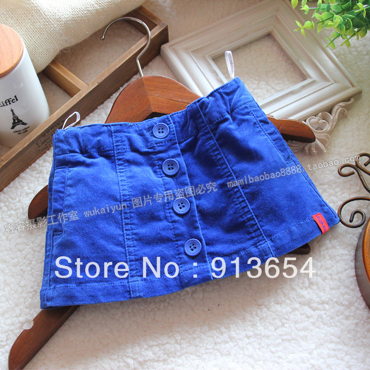 Free shipping, wholesale Sale new 2013 spring and autumn girl skirt mini skirt girl's casual all-match blue a-line short skirt