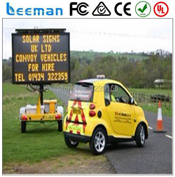 Leeman Solar traffic VMS LED sign trailer, Trailer Solar Message Board/solar traffic sign board solar panel vms led sign trailer(China (Mainland))