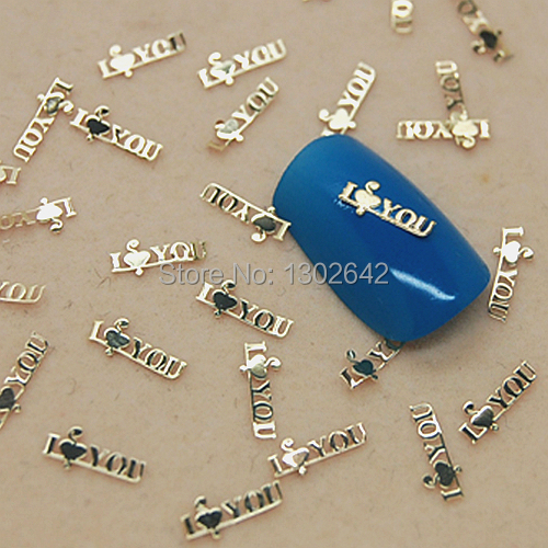 K75 200pcs/lot 3D English Letter Metal Jewelry Nail Decoration Tiny Slice Metal Accessories For Nails Art(China (Mainland))