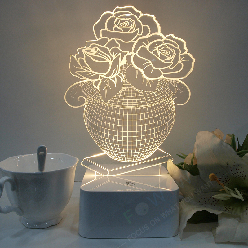 Free Shipping Flower Vase 3D Night Light Indoor Bedroom Deco Rose Table Lamp Dimmable Micro USB Lamp Romantic Gift Luminaria(China (Mainland))