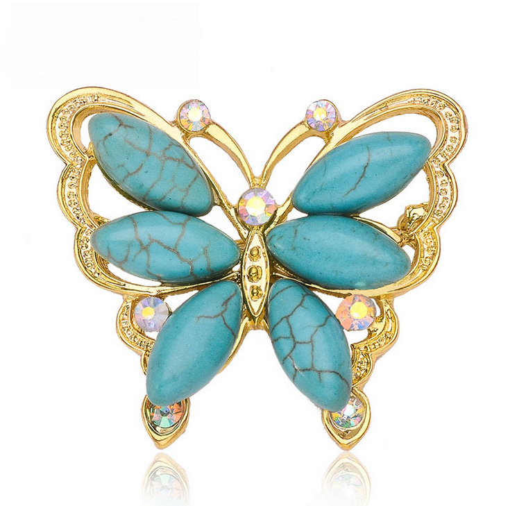 CX1161 Beautiful Natural Turquoise Stone Brooches Fashion ...