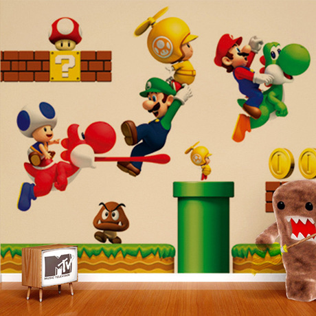 creative Living room modern design diy wall decor mario brothers 70X50 home fashion stickers - YIWU E-MOON E-COMMERCE FIRM store