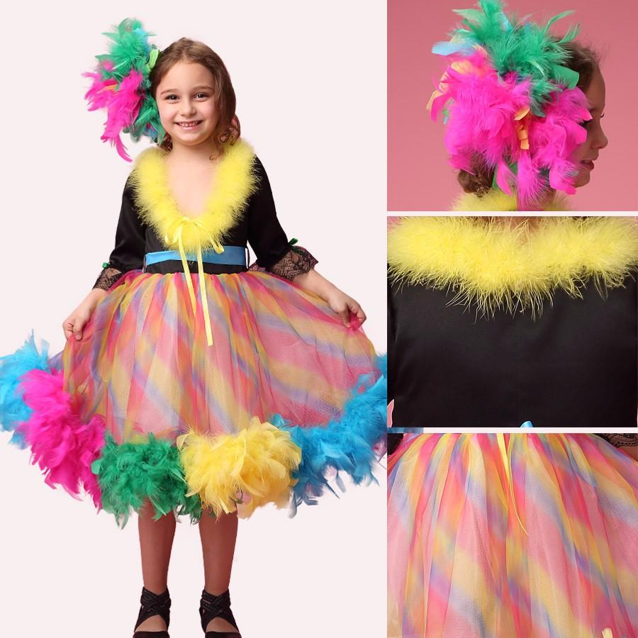 Скидки на Мода высокое качество половина рукава ручной работы перо дети радуги блеск pageant платья
