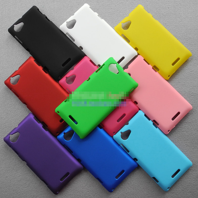 Free Shipping!! High Quality Cheapest Colorized Oil-coated Rubber Matte Hard Back Case Cover for Sony Xperia L S36h, SON-011