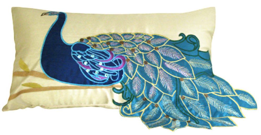 Modern Decorative Lumbar Pillows : Aliexpress.com : Buy Modern Fashion Vivid Peacock Embroidery Fancy Decorative Silk Pillow Case ...
