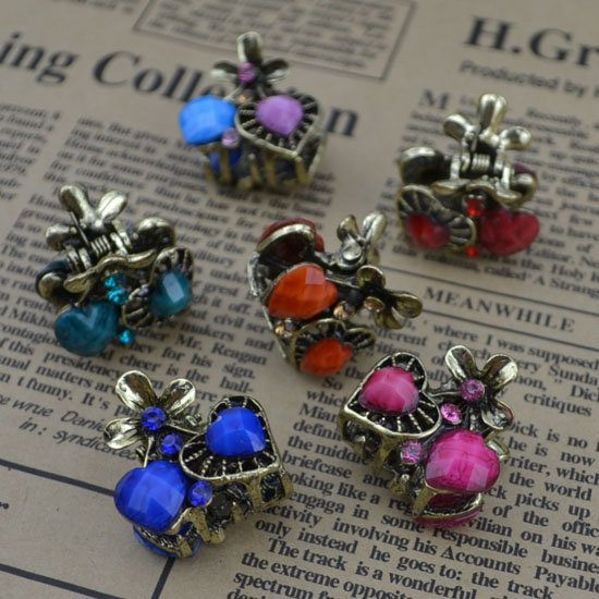 Fashion hair jewelry vintage Headwear Hair accessories crystal lovly heart hair claws Mix color and design free 0 H59