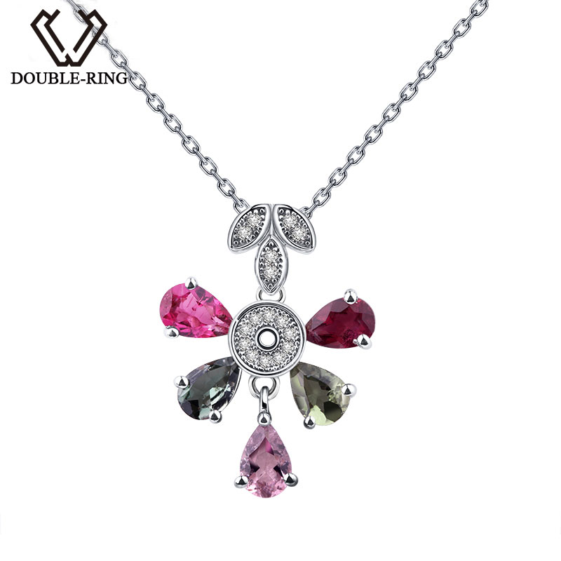 DOUBLE-R Real 925 Sterling Silver Flower Shape Fine Jewelry Colorful Genuine Natural Tourmaline Pendants with Chain CAP02408A