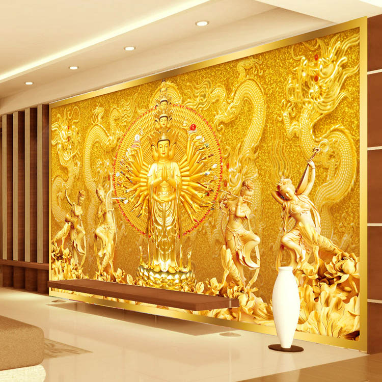 Buy gold buddha photo wallpaper custom 3d for Buddha decorations for the home uk