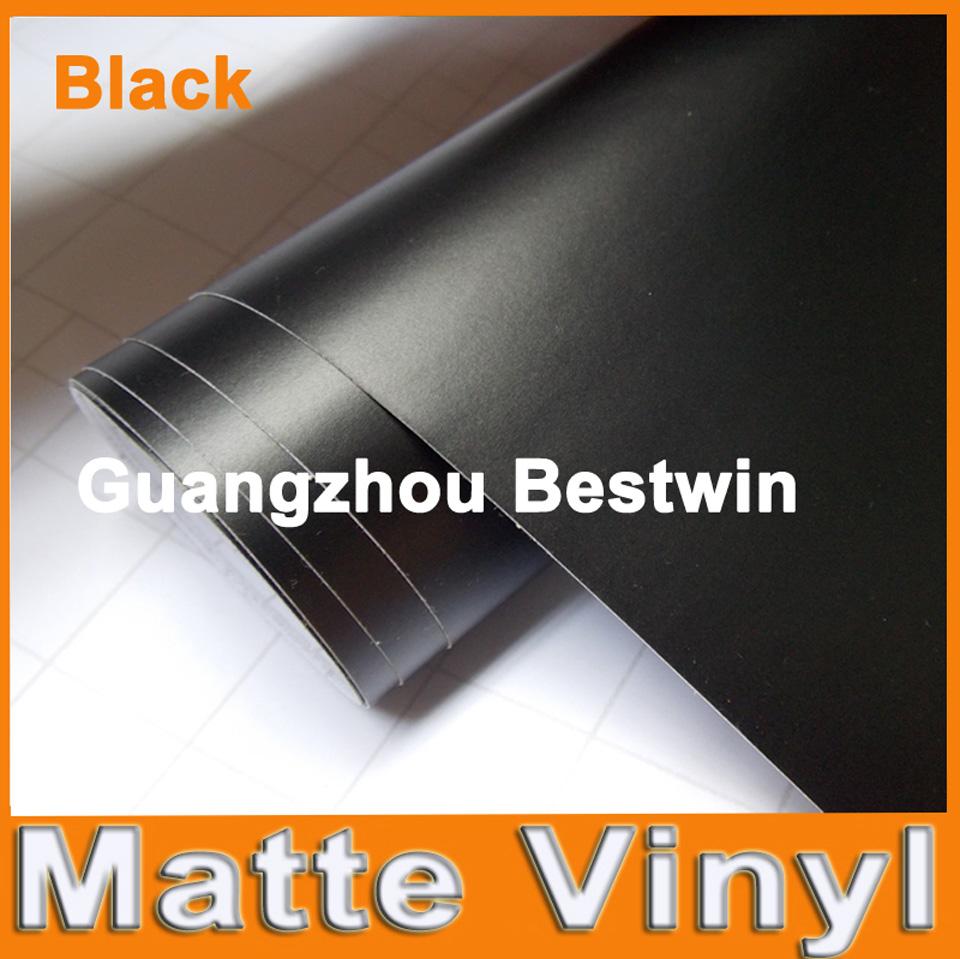 Premium Black Matte Vinyl Wrap with Air Bubble Free Satin Matt Black Foil Car Wrap Film Vehicle Sticker 1.52x0.3m/Roll(China (Mainland))