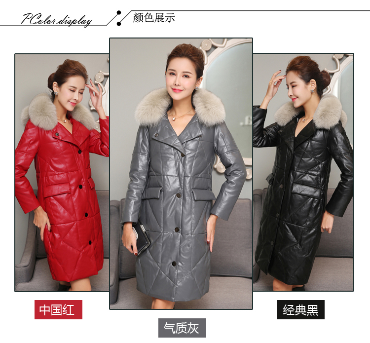 Shearling Coats Women 2017 More New Lady Fashion To Keep Warm In Winter Mouton Fur Coat Plus Size Leather Jacket With Fur Collar
