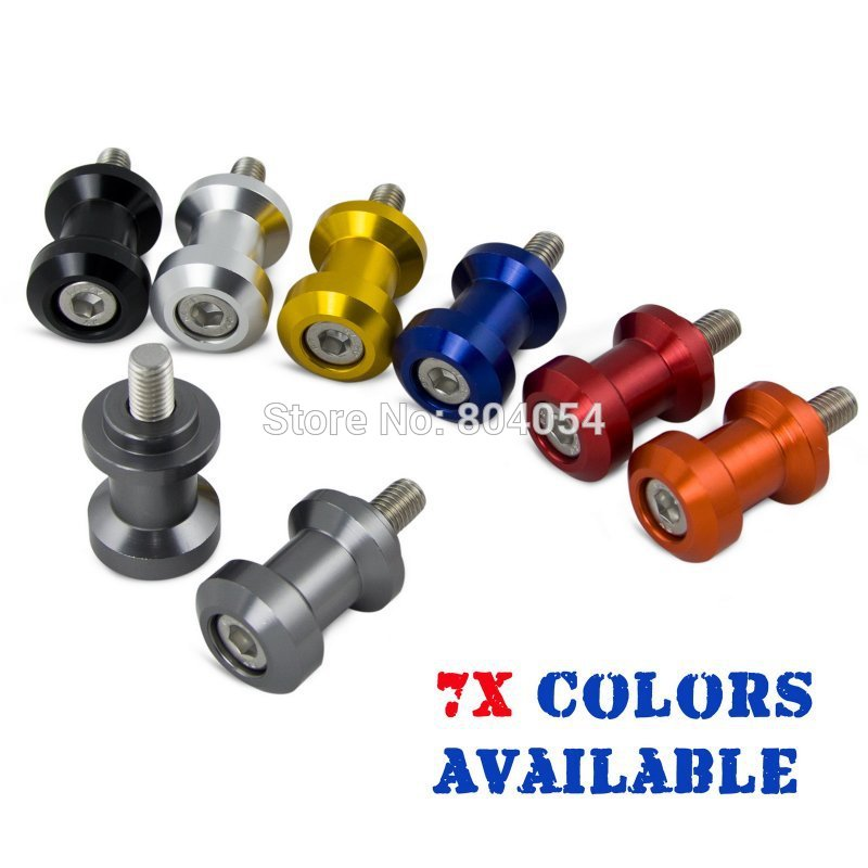 Titanium 10mm CNC Racing Swingarm Spools Sliders For Paddock Stand Fits For font b Kawasaki b