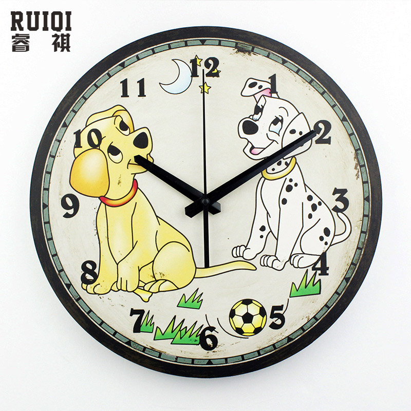 Buy cartoon children room decoration wall clock safe silent kids bedroom wall - Wall picture clock decoration ...