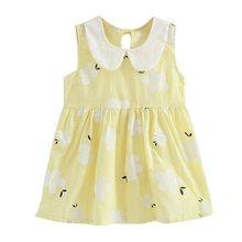 Trẻ em Đầm Bé Gái Không Tay In Hoa Cotton và Vải Lanh Váy Đầm hoa Bé Gái Xuân Đầm Mùa Hè cho bé gái(China)
