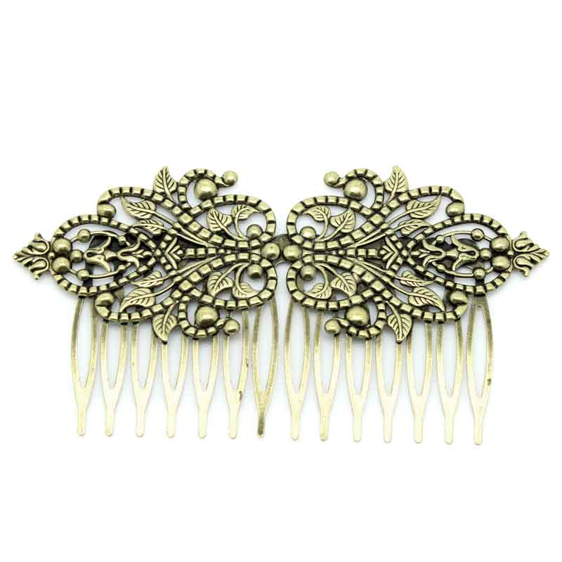 "2016 Fashion Free Shipping 2016 NEW 2PCs Hair Clips Comb Shape Flower Hollow Bronze Tone 9.8cm x 5.2cm(3 7/8""x2"")(China (Mainland))"
