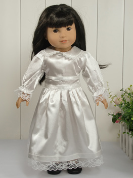 "lovely white satin party dress  fits 18"" American Girl Doll Clothes 1007"