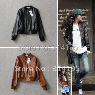 Hot sale Factory Promotion Free shipping nubuck leather jackets casual o-neck women leather jacket outerwear 2 color