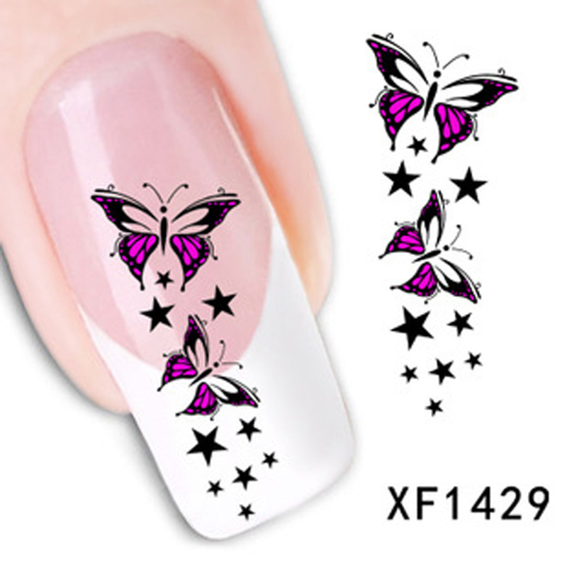 1 pcs Trendy Colorful Star Nail Tips Water Decals Art Water Transfer Stickers Nail Decoration Manicura Francesa(China (Mainland))