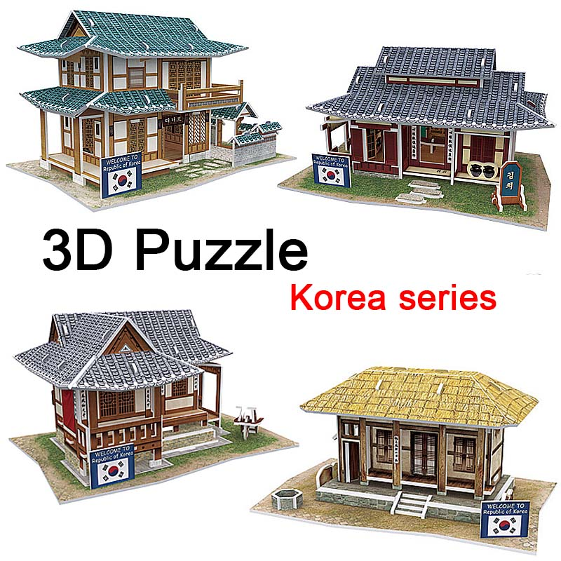 2016 3D Wood Puzzle DIY Model Kids Toy Western Korea Style House Puzzle puzzle 3d building wooden puzzles Free Shipping Toy gift(China (Mainland))