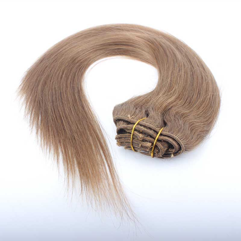 #8 Light Brown Clip in Human Hair Extension European Clip in Hair Straight Clip in Human Hair Extension For White Women