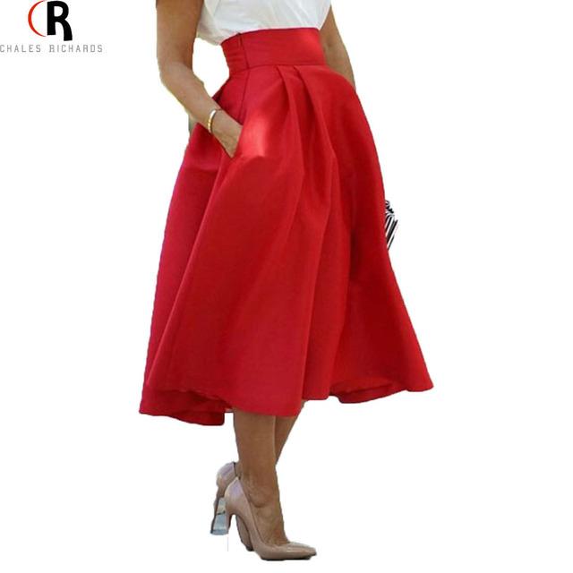 Женщины высокой талией плиссе старинные миди юбка 2016 весна осень уличный стиль карманы линии элегантный конькобежец свободного покроя одежда