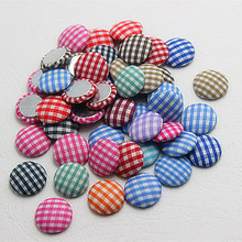 free shipping 100pcs/lot tartan design printed fabric covered round button flat back cabochon for DIY scrapbooking