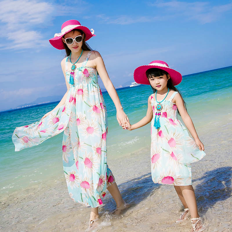 Authentic 2017 Mom Daughter Dress Long Maxi Summer Vacation Dresses Family Matching Beach Chiffon Girls & Women - CiCi Kids Clothes store