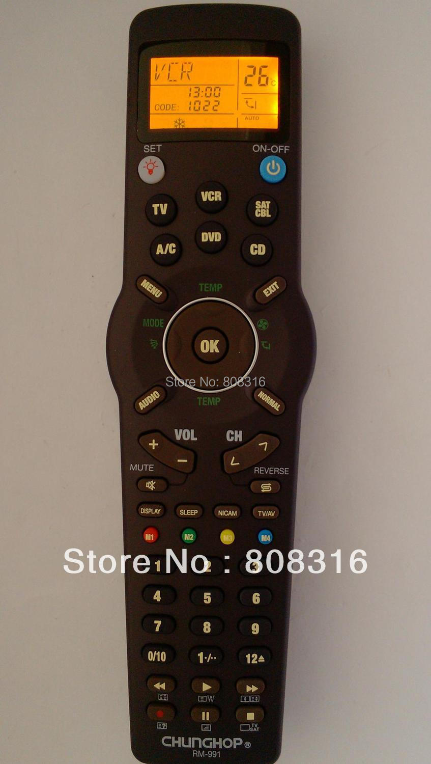 Freeshipping wholesale Chunghop RM-991 TV/SAT/DVD/CBL/CD/AC/VCR universal remote control learning for 6 nets in 1 equipment(China (Mainland))