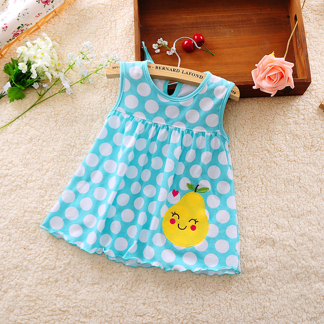 Cute Baby Girl Dress Cotton Dot Striped Slip Dress pear flower Children Kids Clothing 0-18M dress