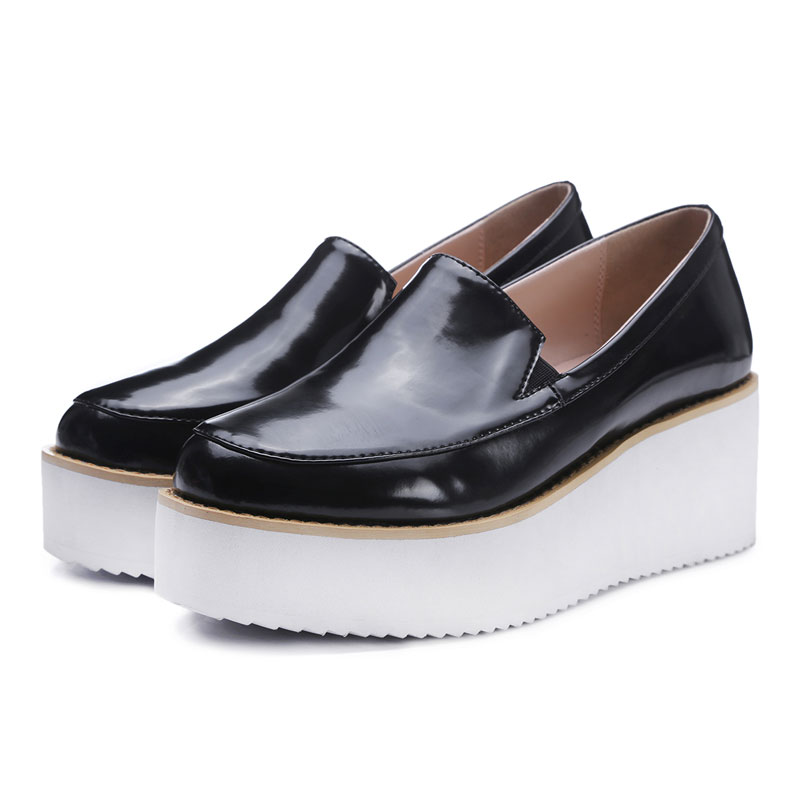 2016 Casual Shoes Woman Slip On Platform Shoes Genuine Leather Loafers Women Creepers Ladies ...